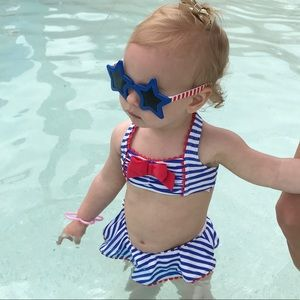 Janie and Jack Red white and blue girls swimsuit